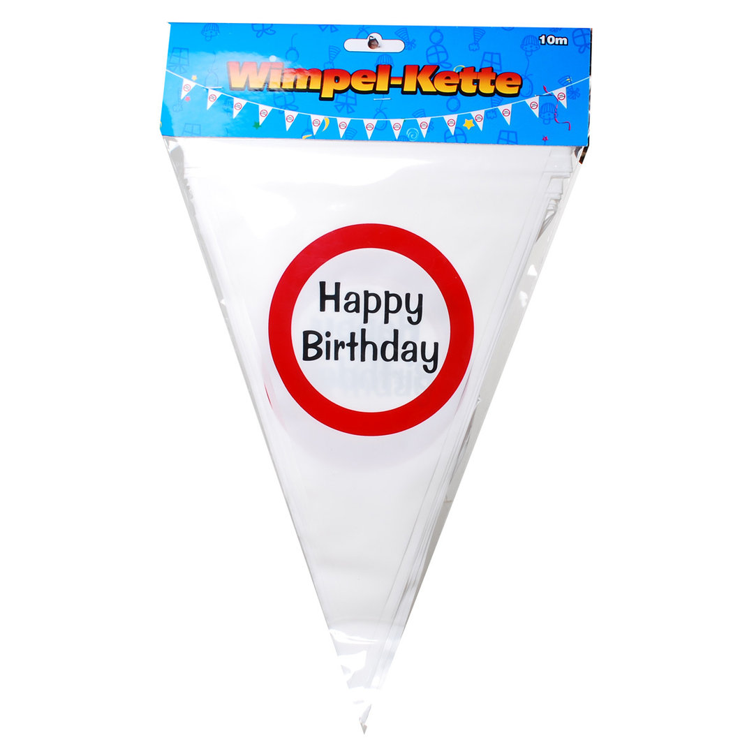 "Wimpel Girlande ""Happy Birthday"" im Warnschild Design Party Dekoration Girlande Wimpel Kette"