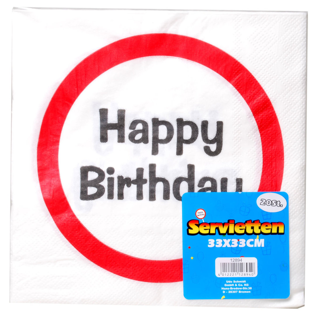 "Servietten ""Happy Birthday"" im Warnschild Design zum Geburtstag Party Dekoration Tisch Deko"