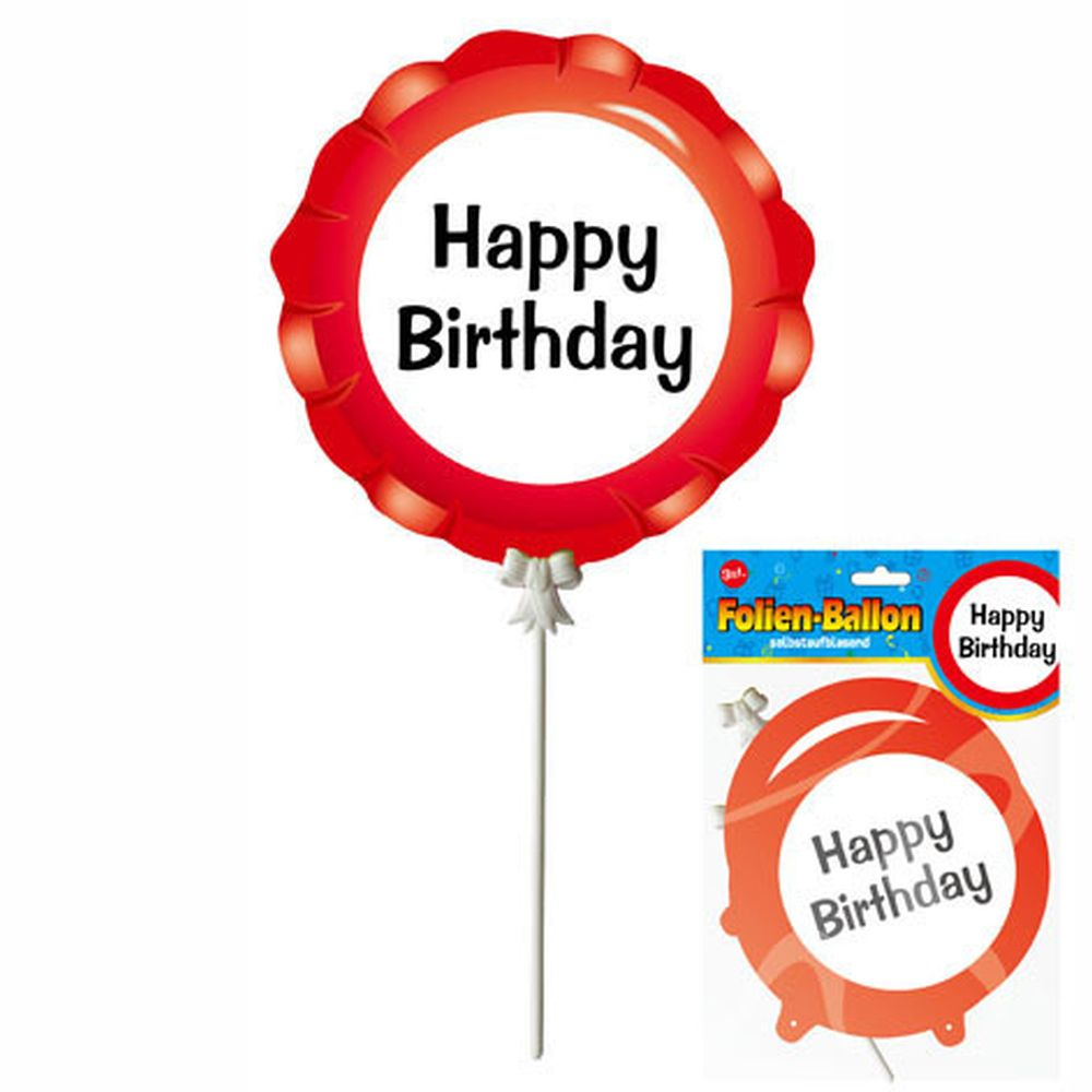 "Luftballons ""Happy Birthday"" im Warnschild Design selbstaufblasend Party Dekoration Geburtstags Deko Ballons 3-teilig"